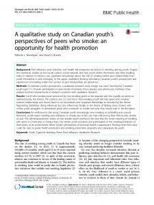 A qualitative study on Canadian youth's perspectives of peers who ...