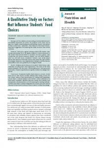 A Qualitative Study on Factors that Influence Students' Food Choices