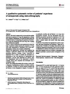 A qualitative systematic review of patients