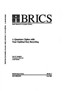 A Quantum Cipher with Near Optimal Key-Recycling - brics