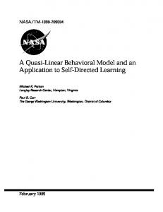 A Quasi-Linear Behavioral Model and an Application to ... - CiteSeerX