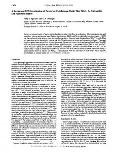 A Raman and XPS Investigation of Supported Molybdenum Oxide ...