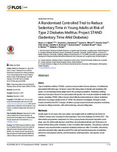 A Randomised Controlled Trial to Reduce Sedentary Time in ... - PLOS