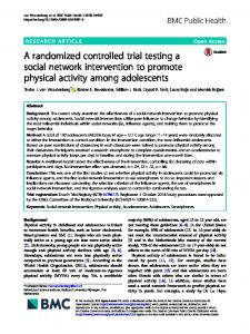 A randomized controlled trial testing a social ... - BMC Public Health