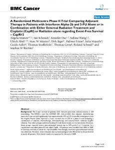 A Randomized Multicentre Phase II Trial Comparing Adjuvant Therapy ...