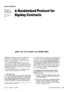 A Randomized Protocol for Signing Contracts - CiteSeerX