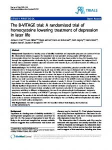 A randomized trial of homocysteine lowering treatment of depression ...
