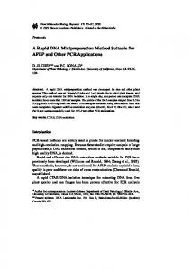 A Rapid DNA Minipreparation Method Suitable for ... - Springer Link