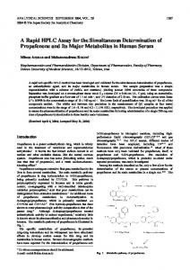 A Rapid HPLC Assay for the Simultaneous Determination of