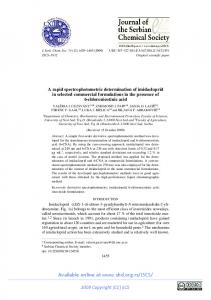 A rapid spectrophotometric determination of imidacloprid ... - doiSerbia