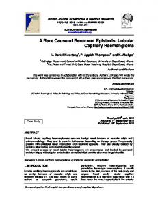A Rare Cause of Recurrent Epistaxis: Lobular ... - Journal Repository