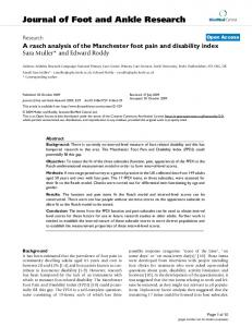 A rasch analysis of the Manchester foot pain and disability index