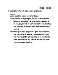 A reading from the holy Gospel according to John Jesus raised his ...
