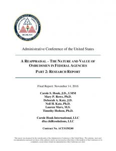 A Reappraisal: Ombuds in Federal Agencies - Administrative ...