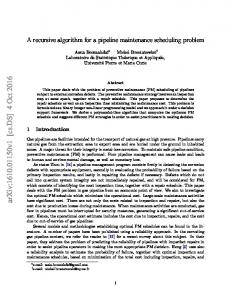 A recursive algorithm for a pipeline maintenance scheduling problem