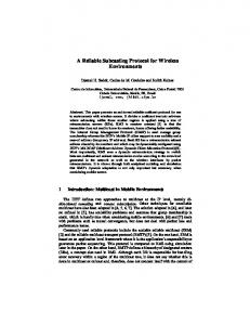 A Reliable Subcasting Protocol for Wireless ... - Semantic Scholar