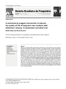 A reminiscence program intervention to improve the