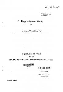 A Reproduced Copy - NTRS - NASA