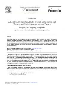 A Research on Impacting Factor of Rural ... - ScienceDirect.com