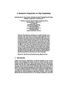 A Research Perspective on Fog Computing - Information Systems