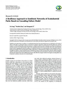 A Resilience Approach to Symbiosis Networks of Ecoindustrial Parks ...