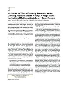 A Response to the National Mathematics ... - Stanford University