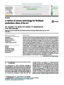 A review of current technology for biodiesel production