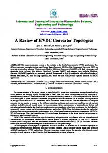 A Review of HVDC Converter Topologies - IJIRSET