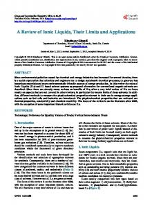 A Review of Ionic Liquids, Their Limits and Applications - Scientific ...