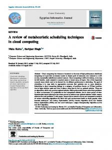 A review of metaheuristic scheduling techniques in cloud ... - Core