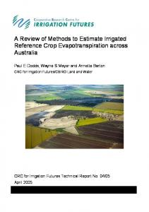 A Review of Methods to Estimate Irrigated Reference Crop ... - CiteSeerX