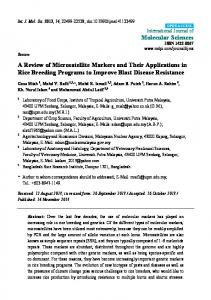 A Review of Microsatellite Markers and Their Applications in ... - MDPI