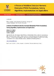A Review of Multilevel Selective Harmonic Elimination PWM ...