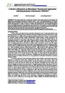 A Review of Research on Educational Theories and