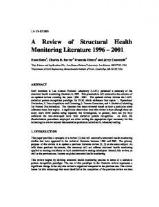 A Review of Structural Health Review of Structural Health Monitoring ...