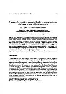 A review of zinc oxide photoanode films for dye ...