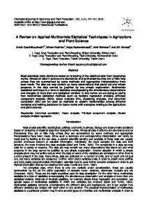 A Review on Applied Multivariate Statistical ...