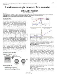 A review on catalytic converter for automotive exhaust ... - IJSER.org
