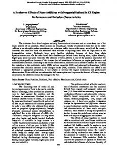 A Review on Effects of Nano Additives