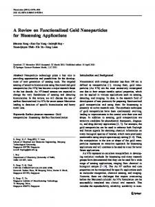 A Review on Functionalized Gold Nanoparticles for Biosensing ...