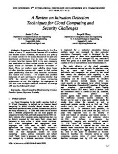 A Review on Intrusion Detection Techniques for Cloud Computing and ...
