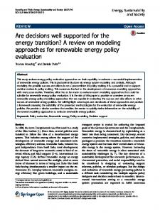 A review on modeling approaches for renewable energy policy ...