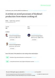A review on novel processes of biodiesel production ...