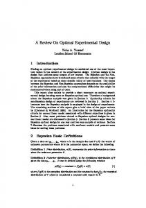 A Review On Optimal Experimental Design - MUCM
