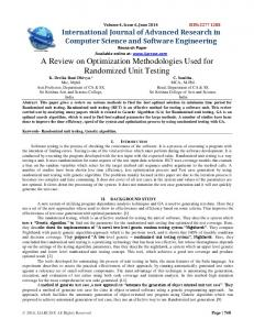 A Review on Optimization Methodologies Used for Randomized Unit ...