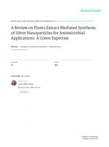 A Review on Plants Extract Mediated Synthesis of Silver Nanoparticles