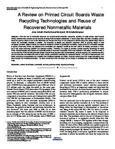 A Review on Printed Circuit Boards Waste Recycling ... - CiteSeerX