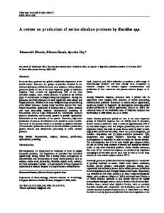A review on production of serine alkaline protease by Bacillus spp