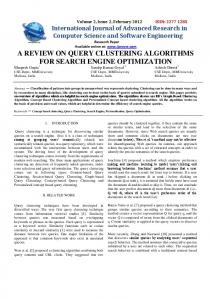 a review on query clustering algorithms for search engine optimization