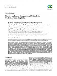 A Review on Recent Computational Methods for Predicting Noncoding ...
